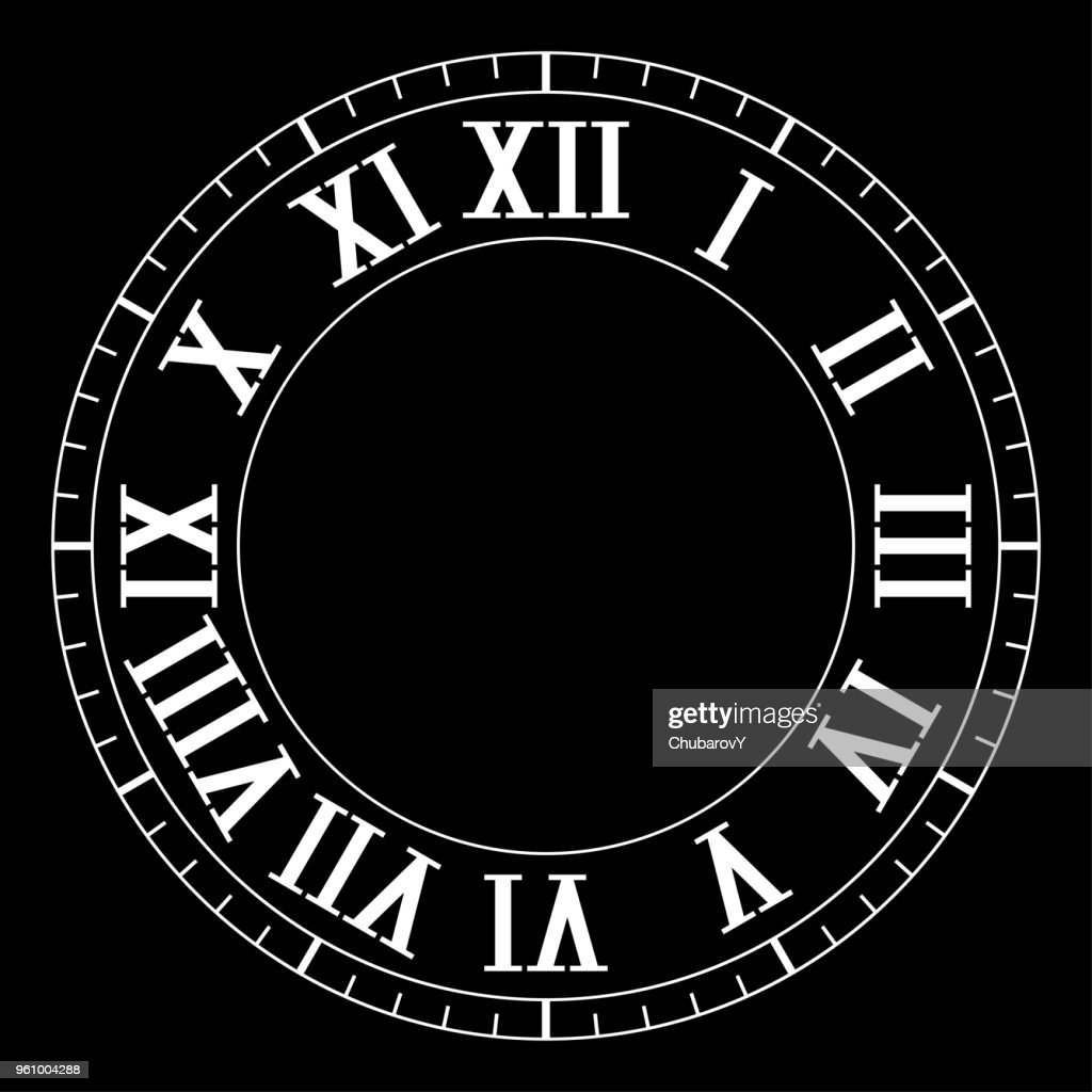 Clock face with roman numerals on black background