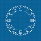 Clock face with roman numerals on blue background