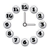 Clock face with volume glass buttons.