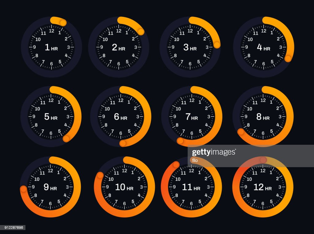 Clock Hour Timers : Stock Illustration