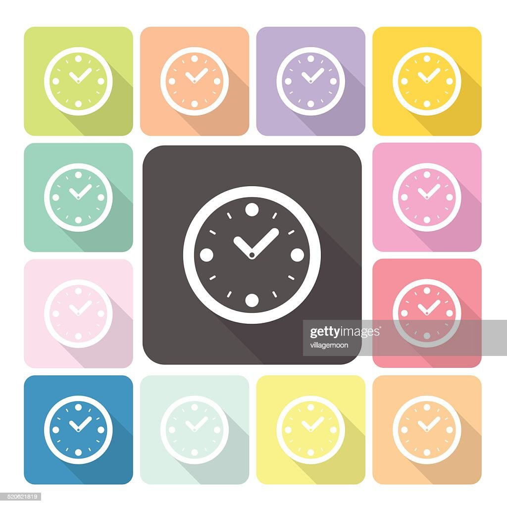Clock Icon color set vector illustration