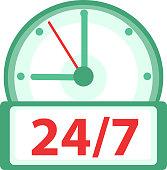 Clock icon, flat design. Watches 24h, 7 days a week