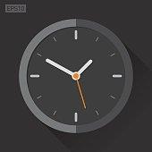 Clock icon in flat style, black timer on dark background. Vector design element