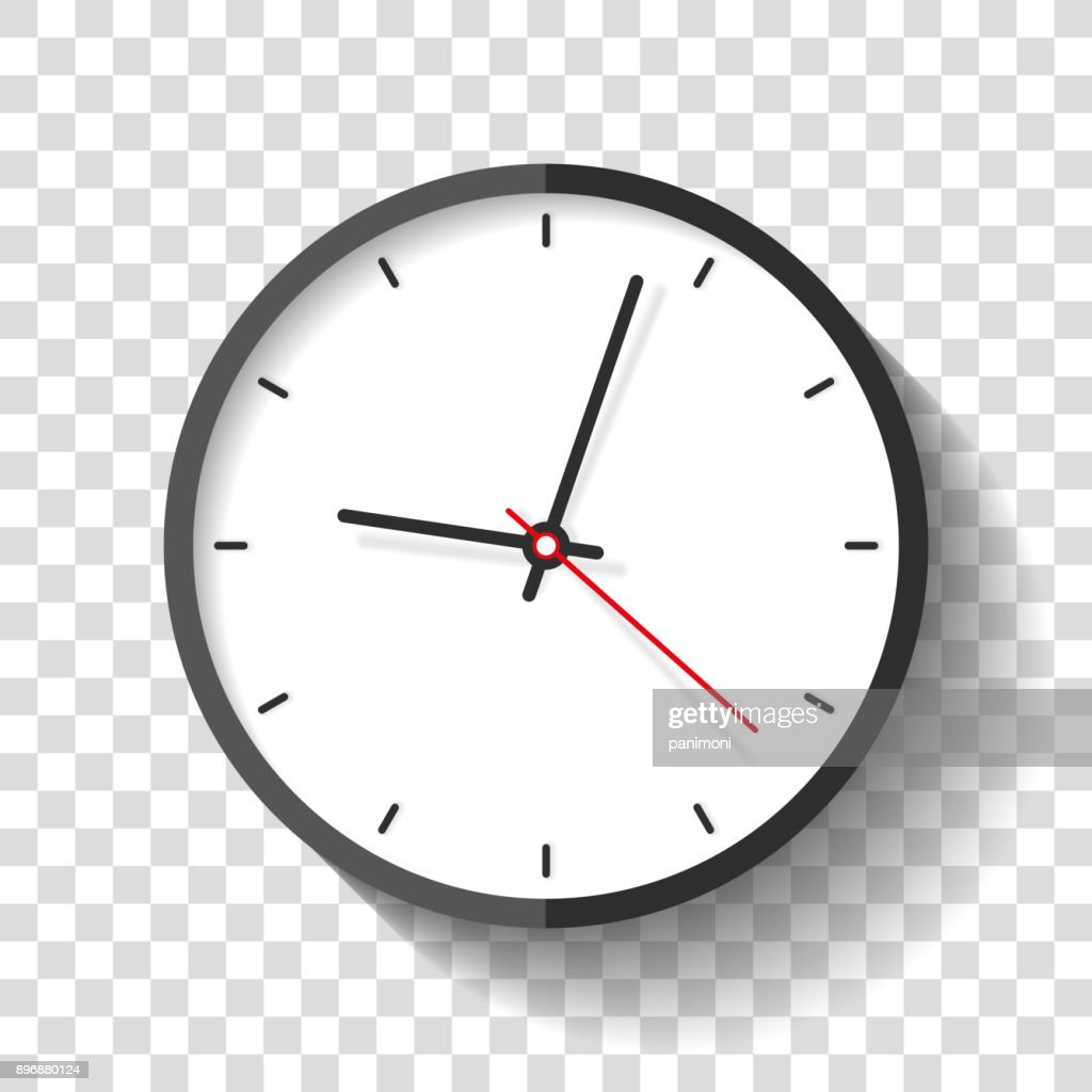 Clock icon in flat style, timer on transparent background. Business watch. Vector design element for you project
