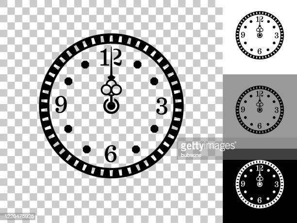 clock icon on checkerboard transparent background - midnight stock illustrations