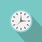 Clock icon. Vector clock illustration with shadow