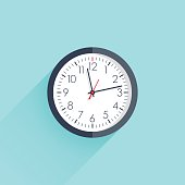 Clock icon vector illustration flat design with long shadow