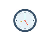 Clock icon. Vector illustration in flat minimalist style.