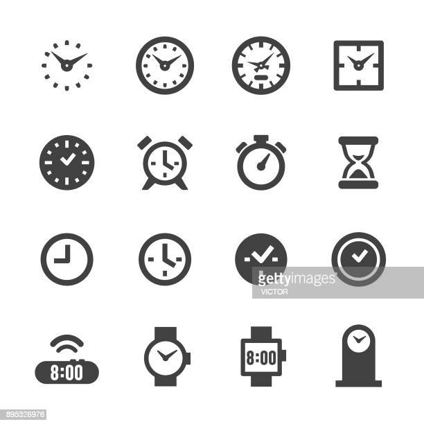 stockillustraties, clipart, cartoons en iconen met klok icons - acme serie - klok