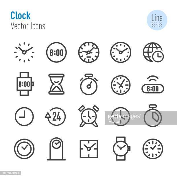 ilustrações, clipart, desenhos animados e ícones de ícones de relógio - vetor linha série - ponteiro grande