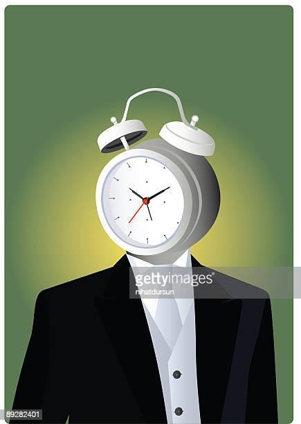 Clock men with alarm clock head