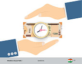 Clock on 200 Indian Rupee Banknote. Flat style vector illustration. Time and Business concept.