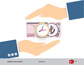 Clock on 200 Turkish Lira Banknote. Flat style vector illustration. Time and Business concept.