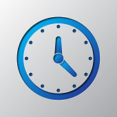 Clock out of paper. Vector illustration.