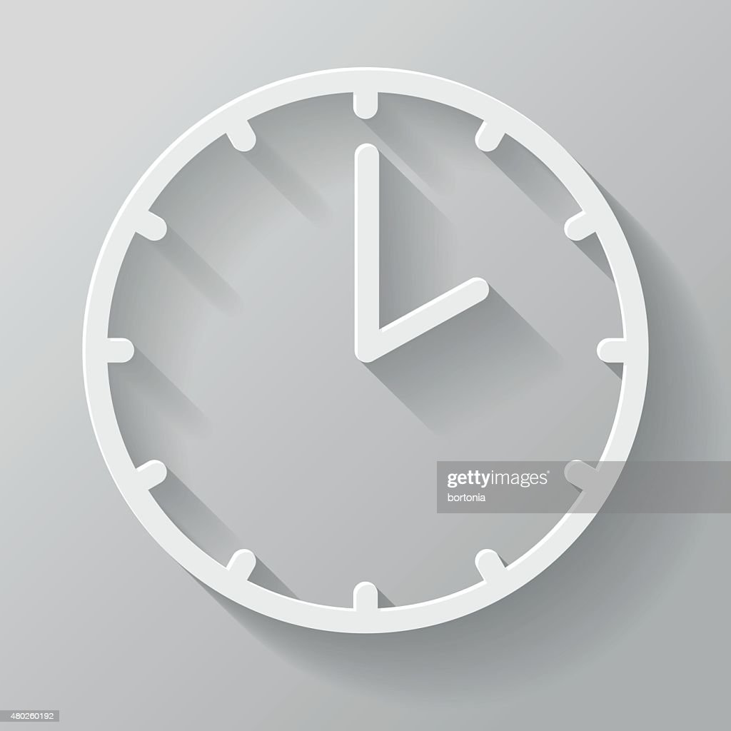 Clock Paper Thin Line Interface Icon With Long Shadow