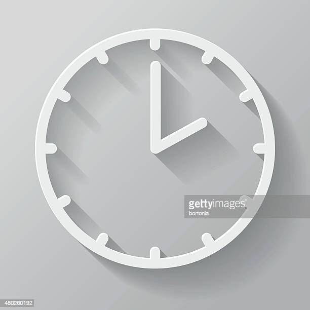 clock paper thin line interface icon with long shadow - clock stock illustrations, clip art, cartoons, & icons