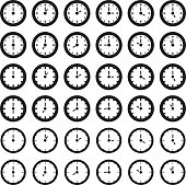 Clock showing every hour. Vector illustration.