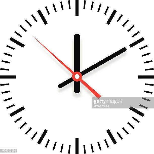 Clock showing time with shadow - VECTOR
