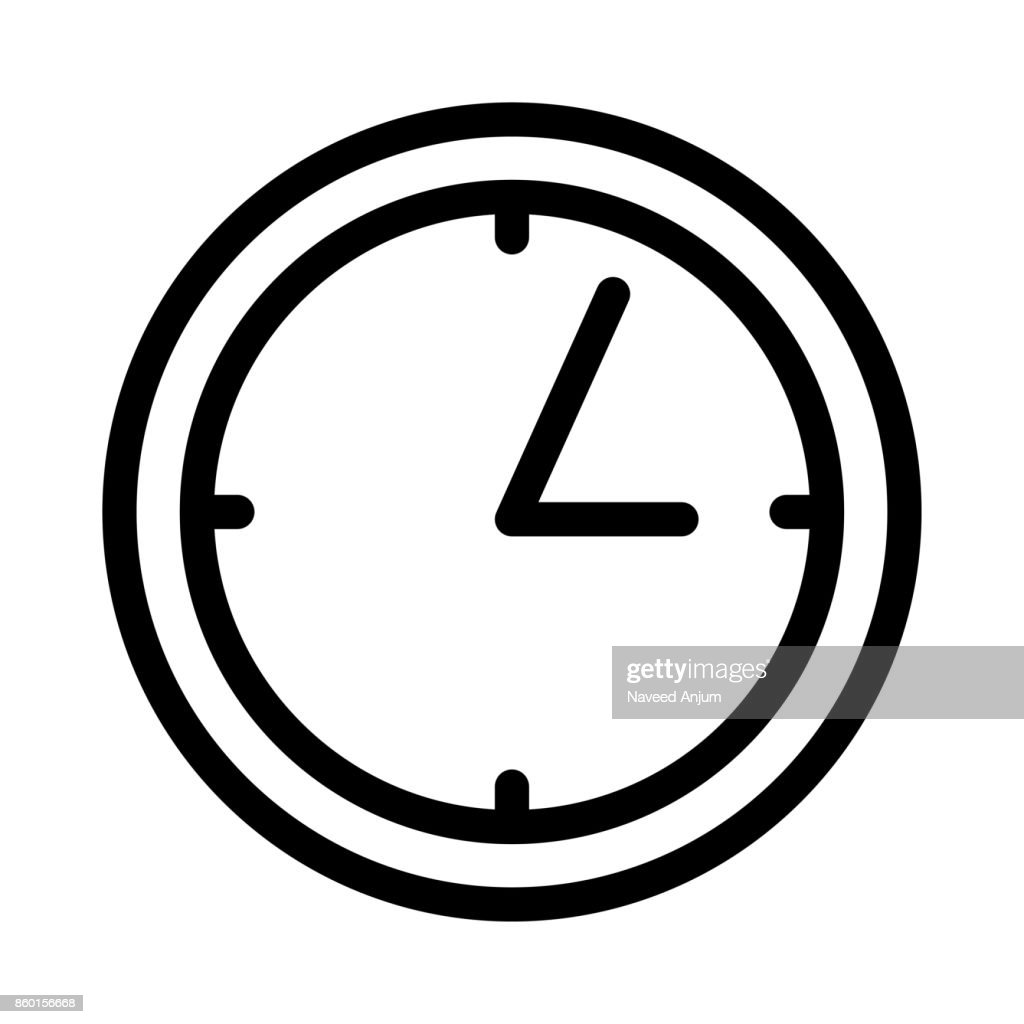 clock Thin Line Vector Icon