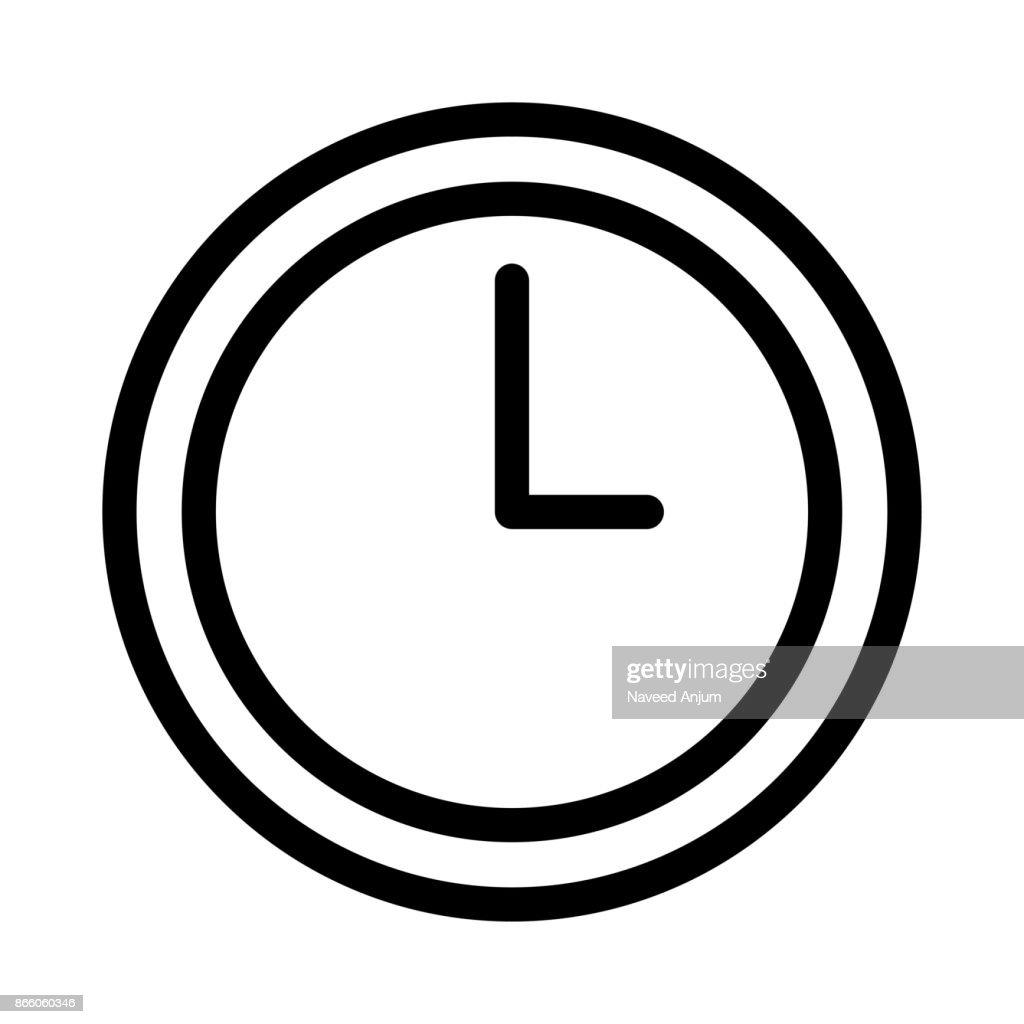clock Thin Line Vector Icon