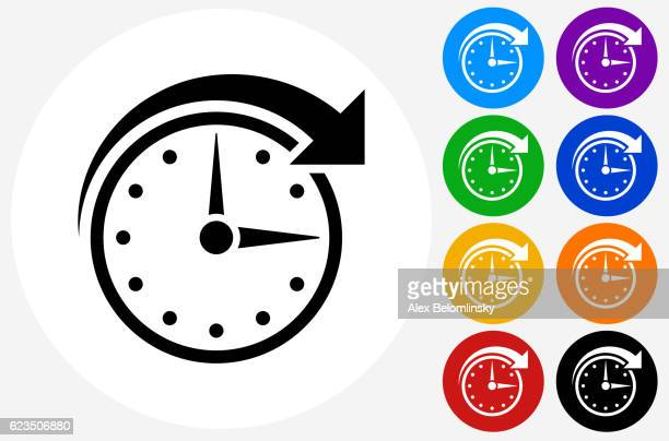 Clock Time Icon on Flat Color Circle Buttons