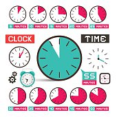 Clock - Time Vector Icons Set