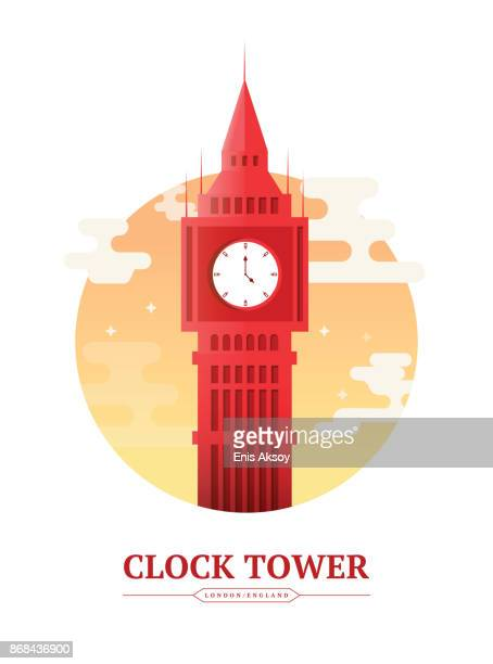 clock tower - england stock illustrations