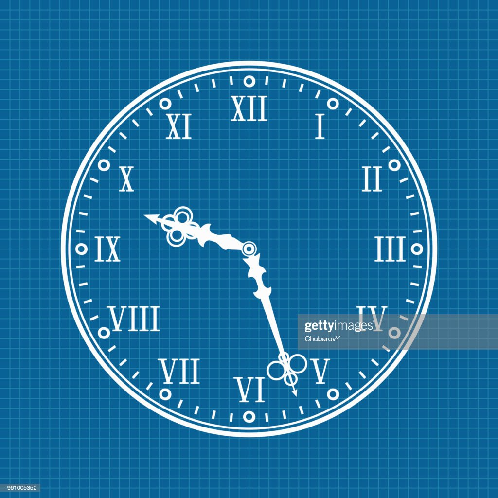 Clock. White vector illustration on blueprint background