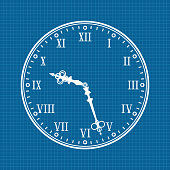 Clock. White vector illustration on blueprint background
