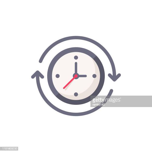 clock with arrows flat icon. pixel perfect. for mobile and web. - conversion sport stock illustrations