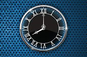 Clock with roman numerals on blue perforated background