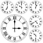 Clock with roman numerals. Set