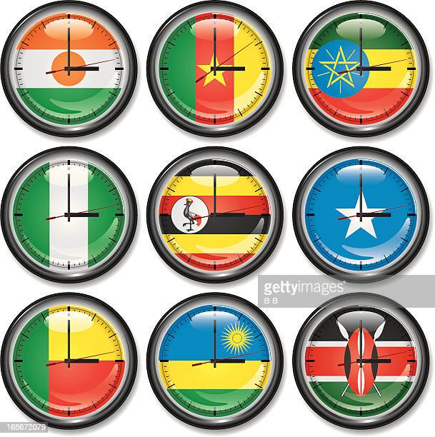 clock-central africa - ethiopia stock illustrations, clip art, cartoons, & icons