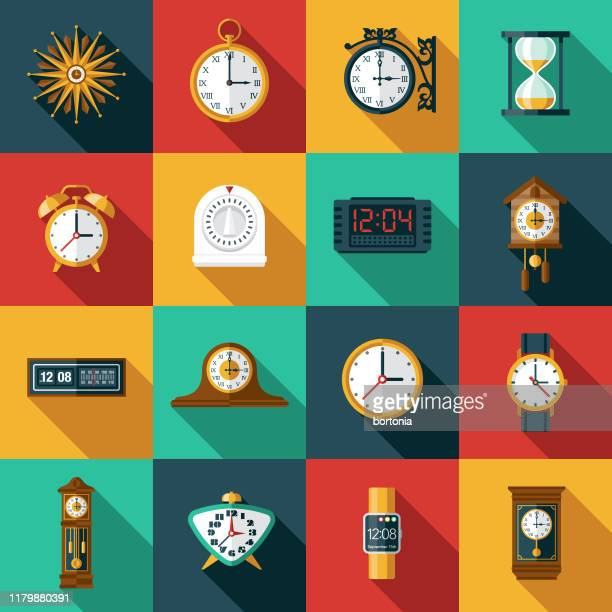 stockillustraties, clipart, cartoons en iconen met klokken en timers icon set - klok