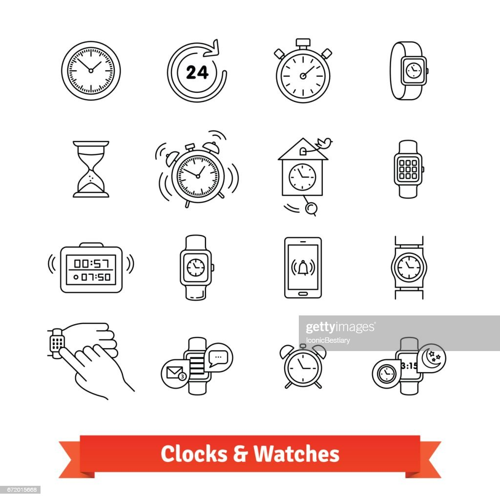 Clocks and Watches. Thin line art icons set