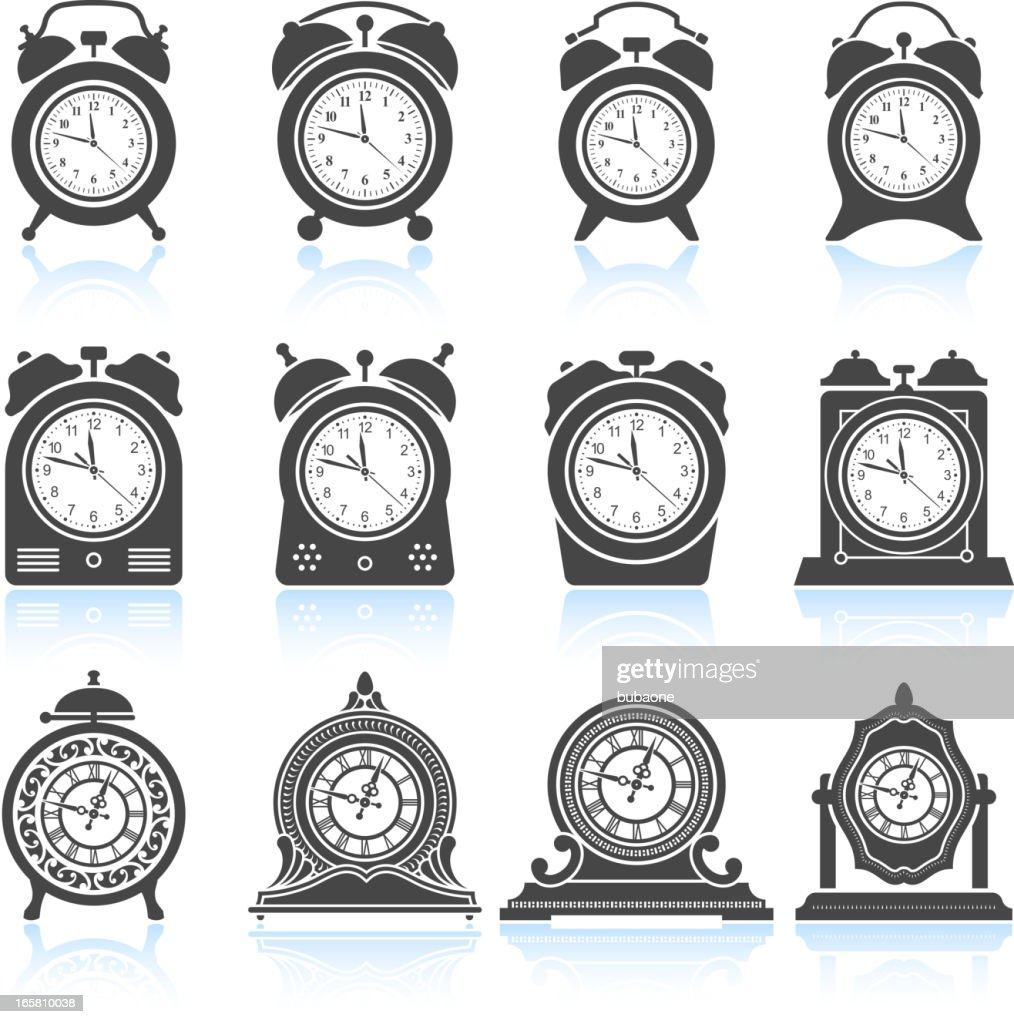 Clocks Black White Royalty Free Vector Icon Set stock
