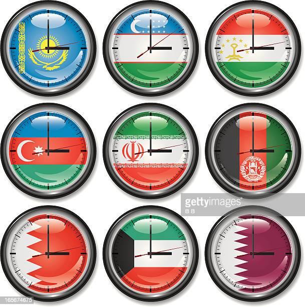 clocks-central asia,arabia - qatar stock illustrations, clip art, cartoons, & icons