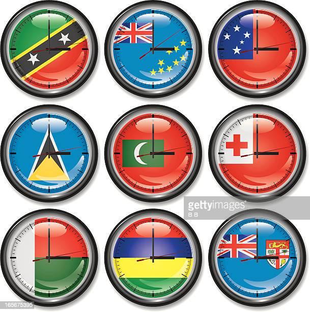 clocks-islands - tuvalu stock illustrations, clip art, cartoons, & icons