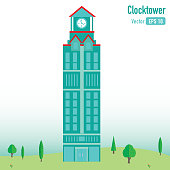 Clocktower Building on Green Scenery
