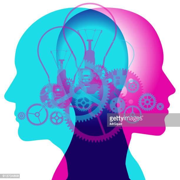 clockwork brains - multiple exposure stock illustrations