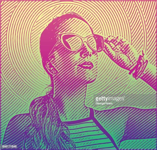 ilustraciones, imágenes clip art, dibujos animados e iconos de stock de retrato grabado de una mujer de negocios hermosa de cerca - independence