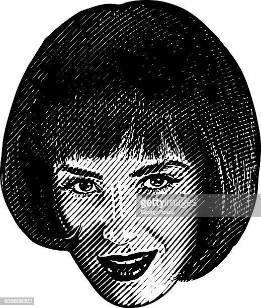 Close up illustration of a woman's face with flirty expression
