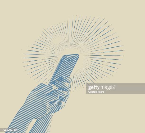 close up illustration of hands texting on smart phone - twee personen stock illustrations