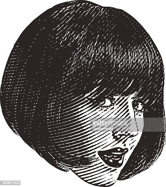 Close Up Illustration Of Woman's Face With Flirty Expression