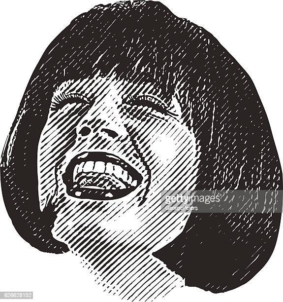 close up illustration of woman's face with happy expression - laughing stock illustrations, clip art, cartoons, & icons