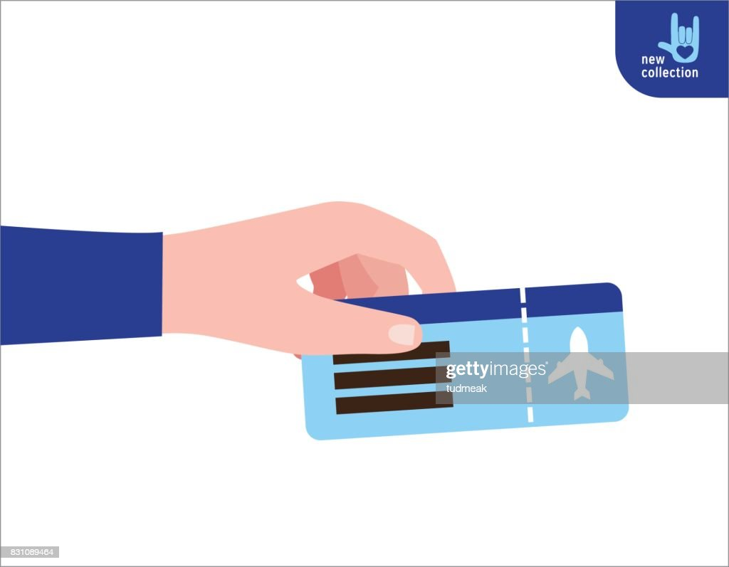 Close up. man holding  in his hand the ticket flight. Symbol of travel and tourism. Vector flat cartoon design illustration. Personal identification concept. Isolated on white background.