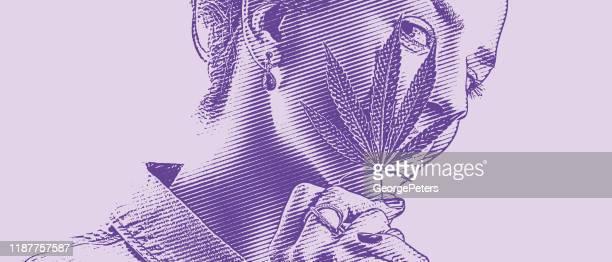 ilustrações, clipart, desenhos animados e ícones de feche acima de uma mulher que prende a folha de cânhamo e que sorri - intoxicação por cannabis