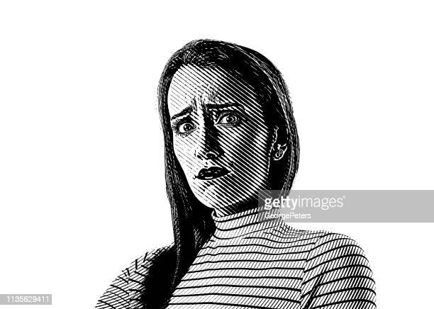 close up of a young woman with stressed out facial expression - disappointment stock illustrations