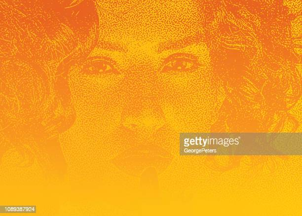 close up of beautiful woman with finger on lips - stipple effect stock illustrations