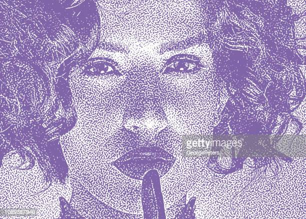Close up of beautiful woman with finger on lips